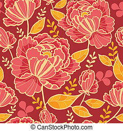 Gold and red flowers seamless pattern background - Vector...