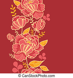 Gold and red flowers vertical seamless pattern border -...