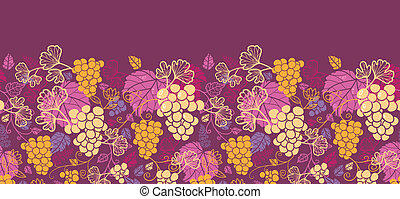 Sweet grape vines horizontal seamless pattern background...