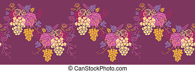 Sweet grape vines horizontal seamless pattern wave border -...