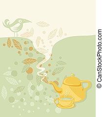 Retro tea time illustration with speech balloon