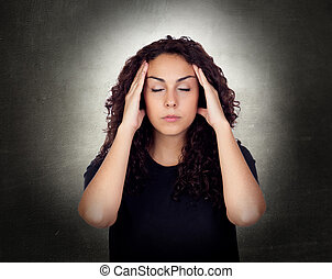 Young Woman Suffering From Headache - Young Woman With...