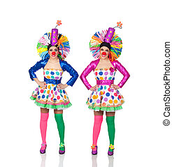 Two Identical Female Clown Isolated Over White Background