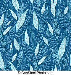 Blue Bamboo Leaves Seamless Pattern Background - Vector Blue...