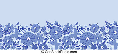 Delft blue Dutch flowers horizontal seamless pattern border...