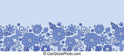 Delft blue Dutch flowers horizontal seamless pattern border...
