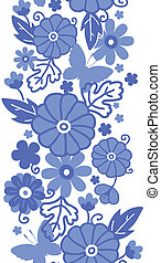 Delft blue Dutch flowers vertical seamless pattern border -...