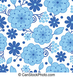 Delft blue Holland flowers seamless pattern background -...
