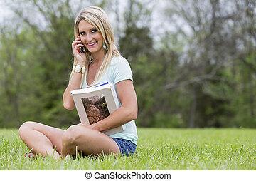 Blonde Model In Park