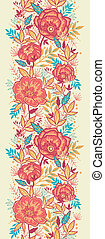 Colorful vibrant flowers vertical seamless pattern border -...
