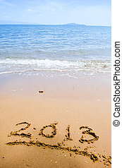 concept,  -, nombres, fond, vacances, plage,  2013