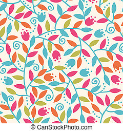 Colorful Branches Seamless Pattern Background - Vector...