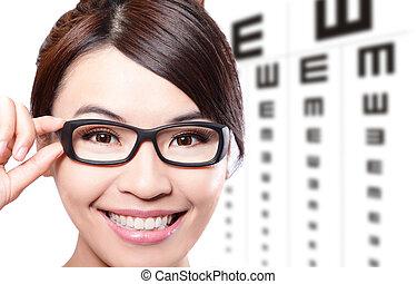 prova, donna, occhio, grafico, occhiali
