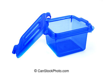 blue bin - pictures of a blue plastic bin over a white...