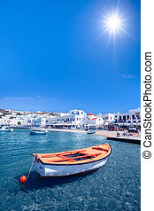 Row Boat - A row boat in Mykonos, Greece