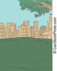 City skyline in front of garden