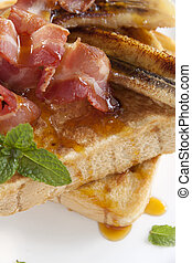 French Toast - French toast with bacon and caramalized...