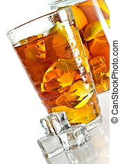 Ice tea in glass with cubes
