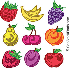 Colorized Stylized Fruit Icons - Colorful set of stylized...