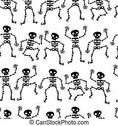 Seamless Dancing Skeleton Pattern