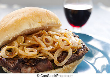 Steak And Onion Burger - Delicious steak burger with fried...