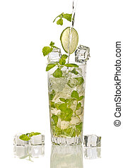 Splash in mojito cocktail with ice on white background