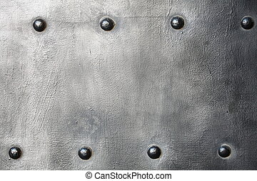 Black metal plate or armour texture with rivets - Black...