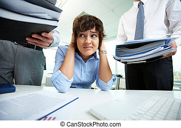 Too much work - Office lady being scared because of too much...