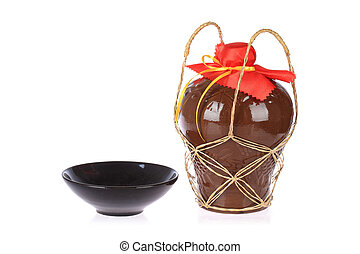rice wine jar and ceramic bowl - rice wine jar with ceramic...