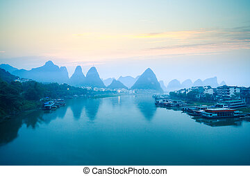 yangshuo scenery in dawn,tranquil landscape in guilin,China.