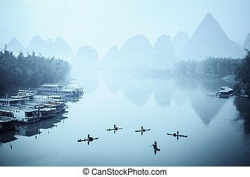 yangshuo scenery in fog - chinese yangshuo scenery in...