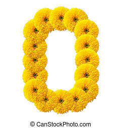 decimal cipher of flowers isolated on white background