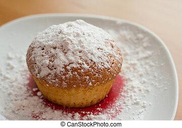 Fresh cake on a plate