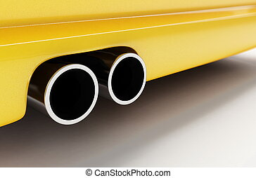 sporting muffler of yellow car