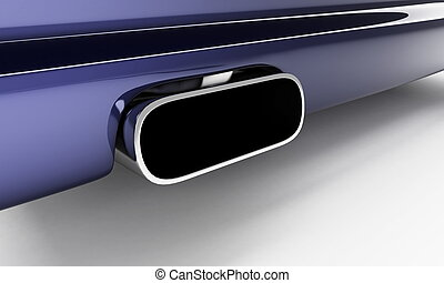 sporting muffler of dark blue car
