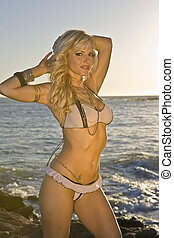 Blonde Woman wearing a see through Bikini on the Beach in...