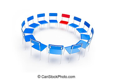chairs to the circle - chairs on a white background