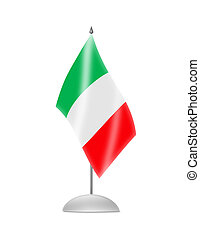 The Italian flag. Table Flag. Isolated on white.