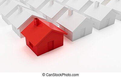 house red - house on a white background