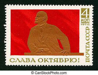 Franqueo, estampilla,  Lenin