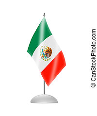 The Mexican flag. Table Flag. Isolated on white.