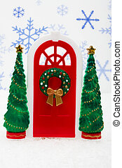 Merry Christmas - Red door with two green trees on snowflake...