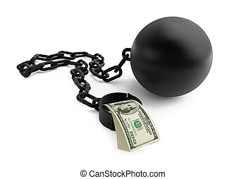 shackle dollar isolated on a white background