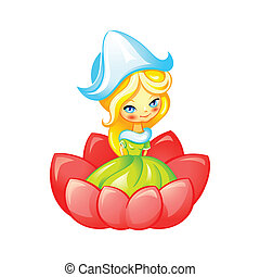 Cute fairy - Cute Thumbelina fairy in flower isolated