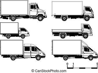 silhouettes, vektor, sätta, Lastbilar