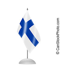 The Finnish flag. Table Flag. Isolated on white.