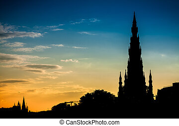 Scott Monument in Edinburgh and summer sunset