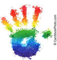 splashed vector childrens palm prints - splashed vector...