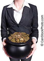 moedas, pote, mulher, segurando, Ouro