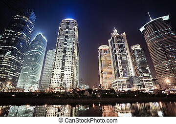 night scenes of shanghai financial center - shanghai...